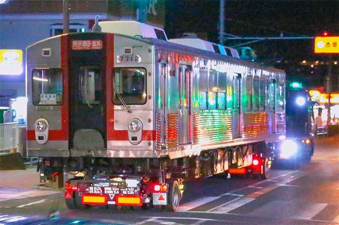 東急7700系が陸送される