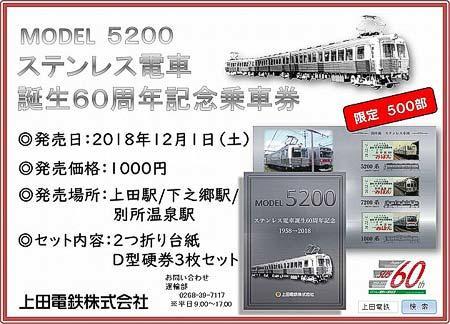 上田電鉄『ステンレス電車誕生60周年記念乗車券』『1日まるまるフリーきっぷ「ステンレス電車誕生60周年記念Ver.」』発売