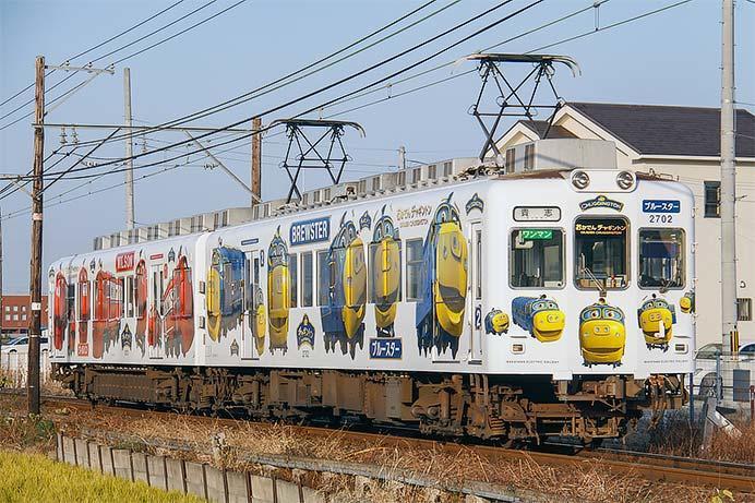 和歌山電鐵で「おかでんチャギントン」ラッピング電車,運転中