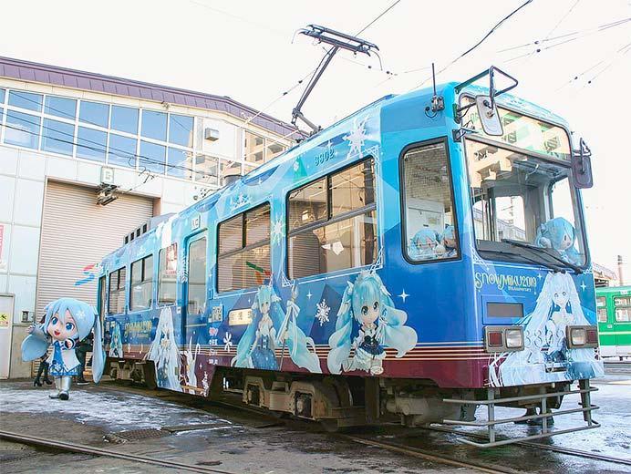 札幌市交通局で「雪ミク電車2019」の内覧会