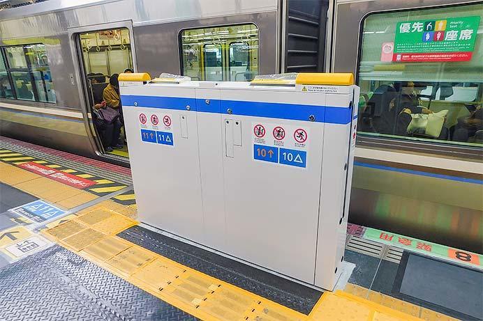大阪駅5番のりばに昇降式ホーム柵が設置される