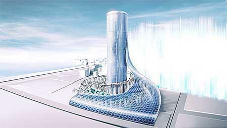 夢洲駅タワービルのイメージ.多様性が活力を生み出しそれが大阪中へ染み渡っていくというコンセプト.