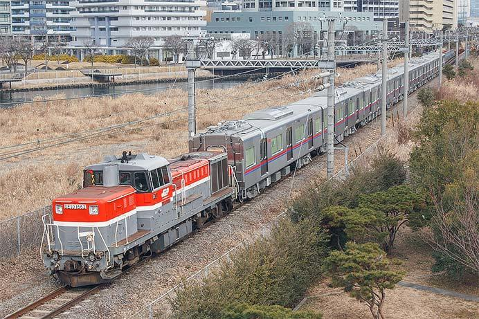京成3000形3041編成が甲種輸送される