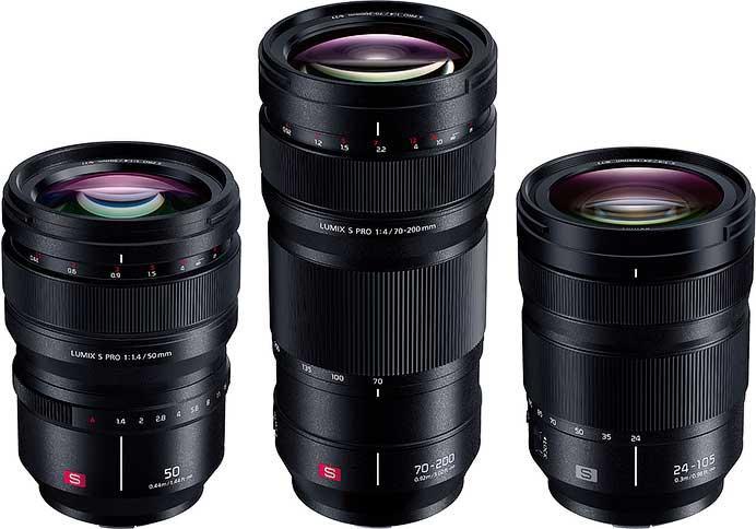 「LUMIX S PRO 50mm F1.4(S-X50)」,「LUMIX S PRO 70-200mm F4 O.I.S.(S-R70200)」,「LUMIX S 24-105mm F4 MACRO O.I.S.(S-R24105)」
