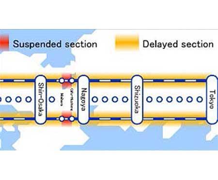 東海道新幹線の遅延状況の表示イメージ(英語)