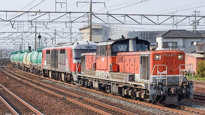 DD51形+DF200形の重連貨物列車の話題