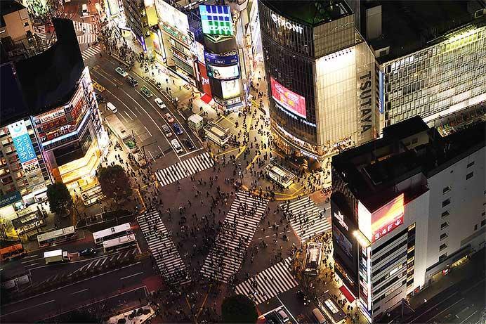 屋上からの眺望(スクランブル交差点・夜)