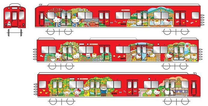 「ハローキティラッピング電車」