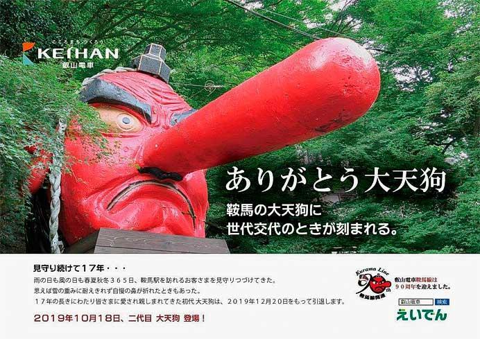 叡電,鞍馬駅前のモニュメント「大天狗」を2019年10月にリニューアル