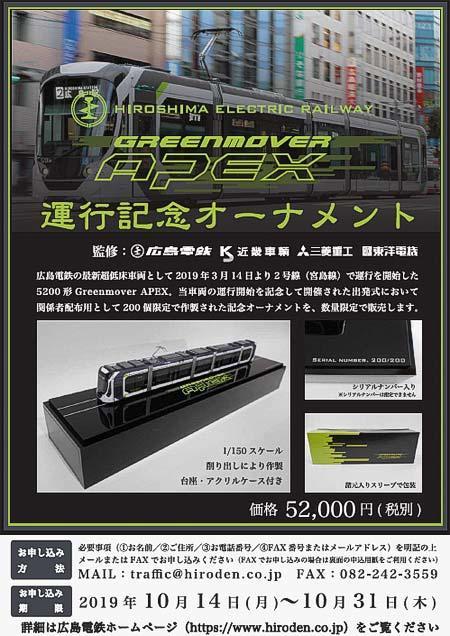 広島電鉄,「5200形 Greenmover APEX 運行記念オーナメント」発売