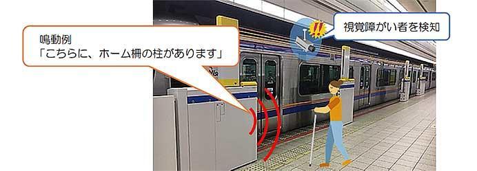 日本信号・西鉄,西鉄福岡(天神)駅で視覚障がい者向けホームドア案内装置の実証試験を実施