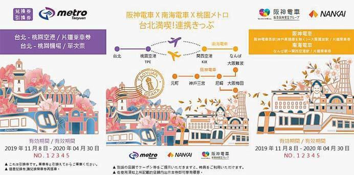 「阪神電車×南海電車×桃園メトロ 台北満喫!連携きっぷ」発売
