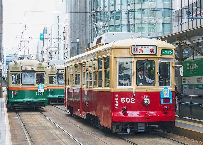 広島電鉄の団臨に602号車などが使用される