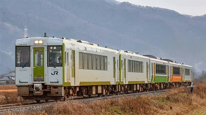 磐越西線の5連運用に2色のキハE120形が連結される