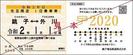 銚子電鉄「大晦日 弧廻手形」発売