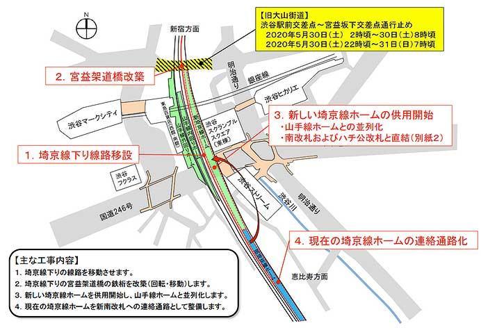 JR東日本,5月29日から6月1日にかけて渋谷駅の線路切換工事を実施