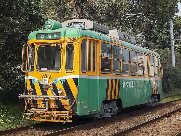 鹿児島市交通局の散水電車が試運転で専用軌道区間へ