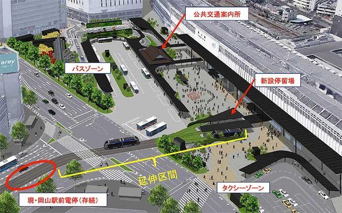 国土交通省,岡山電軌による岡山駅前広場乗入れの軌道事業特許を交付