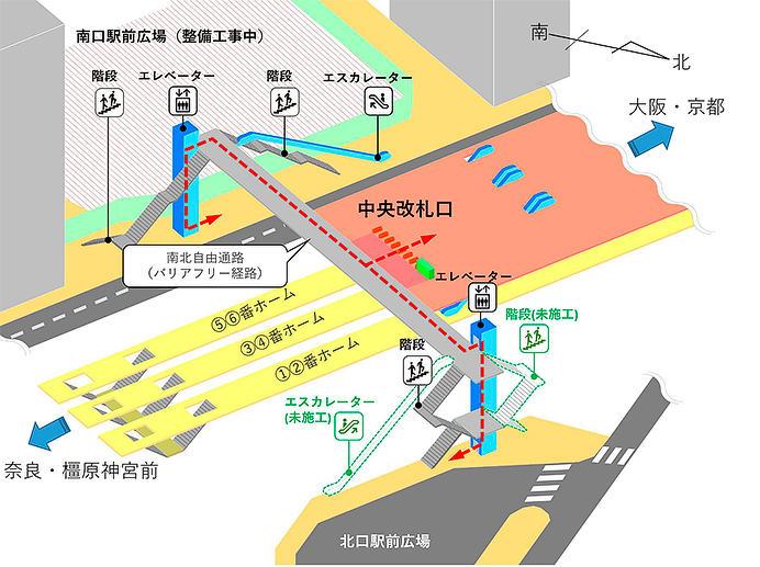 奈良市・近鉄,4月19日から近鉄大和西大寺駅南北自由通路の供用を開始