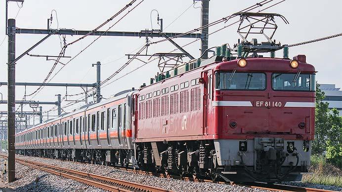 E231系もとB80編成が配給輸送される