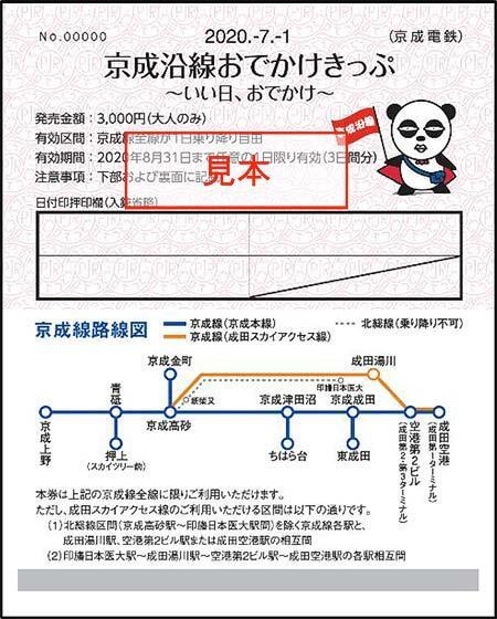 「京成沿線おでかけきっぷ ~いい日、おでかけ~」発売