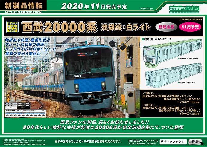 グリーンマックス,西武20000系をNゲージで製品化