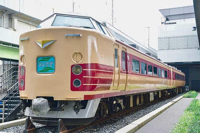 """鉄道博物館の183系に""""そよかぜ""""ヘッドマーク"""