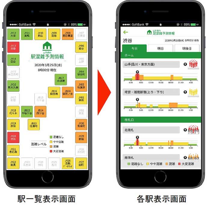 JR東日本アプリで「山手線内 駅混雑予測情報」を公開