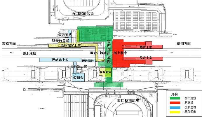 東北本線岩手飯岡駅,東西自由通路・橋上駅舎を新設