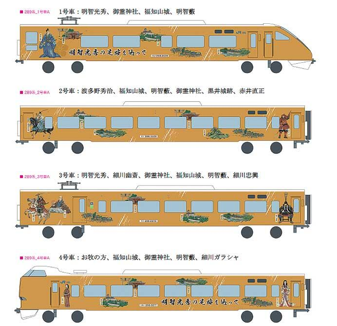JR西日本289系に明智光秀ゆかりの地をPRするラッピング