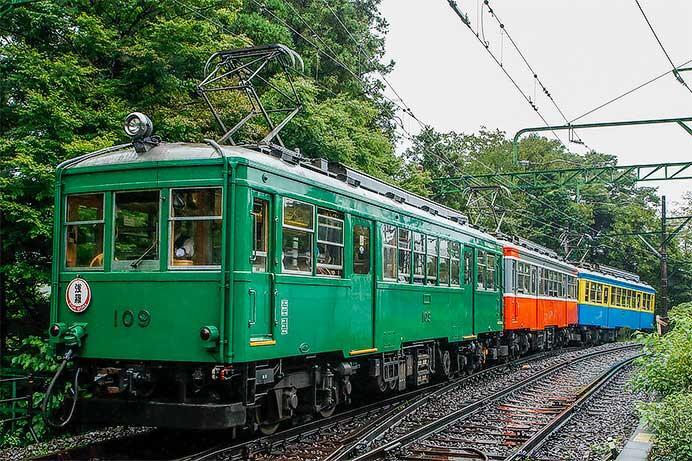 箱根登山鉄道でモハ1形・モハ2形の三色編成
