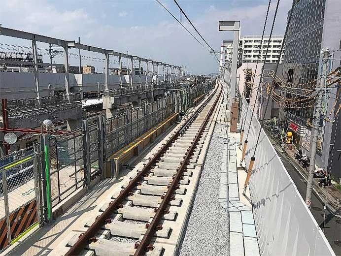 東武伊勢崎線竹ノ塚駅付近の上り急行線高架区間を9月26日から使用開始