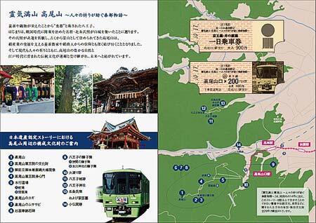 『日本遺産認定「霊気満山高尾山」記念乗車券』台紙のイメージ