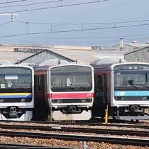 長野総合車両センターで209系3本が並ぶ