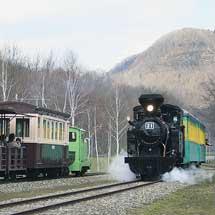 丸瀬布いこいの森 雨宮21号とディーゼル機関車が同時運行