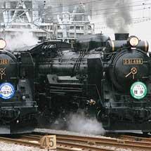 高崎付近で蒸機の並走運転