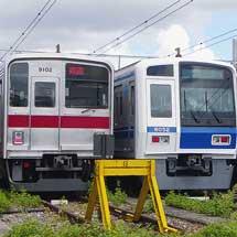 東武9000系・西武6000系・東急9000系が並んで留置される