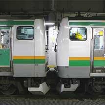 E231系1000番台とE233系3000番台が連結試運転
