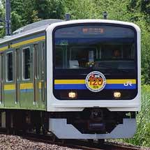 209系マリC402編成に総武本線開業120周年記念ヘッドマーク