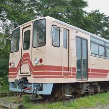 明知鉄道山岡駅のアケチ1形が塗装修繕される