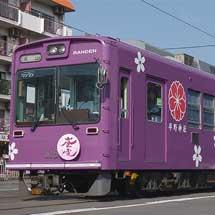 嵐電で「桜電車」運転中