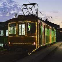 銚子電鉄デハ1001にイルミネーション