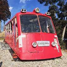 大山ケーブルカー『たんざわ号』が、ポッポの丘に展示