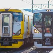 E257系0番台と500番台が並ぶ