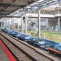東海道本線川崎駅でホーム拡幅に向けた準備が進む