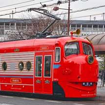岡山電軌で「チャギントン電車」が試運転を実施