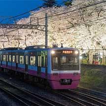 3月26日〜4月1日新京成電鉄,線路脇の桜並木をライトアップ