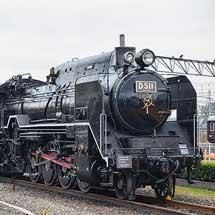 京都鉄道博物館でD51 1とシキ800が連結して留置される