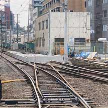 阪堺線恵美須町駅で移転工事が進行中