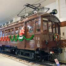 東武博物館の展示車両にクリスマス装飾